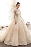 Vestido de novia Clasicos Corte-A Capa de encaje Mangas Illusion Escote con cuello Alto