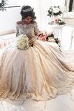 Vestido de novia Falta Encaje Botón Mangas Illusion Capa de encaje Clasicos