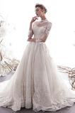 Vestido de novia primavera Escote con cuello Alto Capa de encaje Mangas Illusion