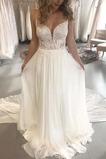 Vestido de novia Natural Capa de encaje Escote de Tirantes Espaguetis