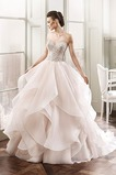 Vestido de novia Organza primavera Iglesia Cremallera Escote Corazón