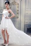 Vestido de novia Sin tirantes Verano Cola Barriba Asimètrico Fuera de casa