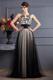 Vestido de fiesta Elegante Corte-A Sin mangas Natural Cola Barriba Bordado
