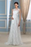 Vestido de novia Drapeado Pura espalda Joya Encaje Capa de encaje Sin mangas