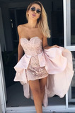 Vestido de cóctel Elegante Satén Encaje Asimètrico Capa de encaje Escote Corazón