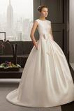 Vestido de novia Falta Espalda medio descubierto Sin mangas Satén Corte-A