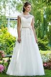 Vestido de novia Cremallera Clasicos Manga corta Corte-A Barco Encaje