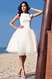 Vestido de novia Manga tapada tul Hinchado Bola Glamouroso Hasta la Rodilla