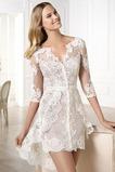 Vestido de novia Encaje Escote en V Natural Asimètrico tul Corto