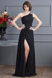 Vestido de fiesta Corte-A Natural Gasa Apertura Frontal Un sólo hombro