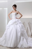 Vestido de novia Otoño Corpiño Acentuado con Perla Natural Cordón Sin tirantes
