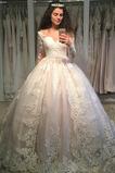 Vestido de novia Otoño Escote en V Natural Formal Reloj de Arena Cremallera