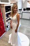 Vestido de novia Capa de encaje Satén Pura espalda Formal Corte Recto