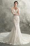 Vestido de novia Encaje Natural Capa de encaje Espalda Descubierta Encaje