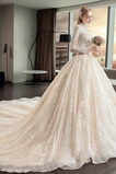 Vestido de novia Corte-A Reloj de Arena Otoño Cola Catedral Abalorio