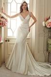 Vestido de novia primavera Escote en V Sala Dobladillos Cremallera Satén Elástico