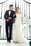 Vestido de novia Natural Otoño Apliques Corte Sirena Encaje Escote con Hombros caídos