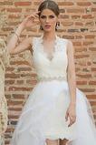 Vestido de novia Cremallera Corte-A Natural Apertura Frontal Cinturón de cuentas