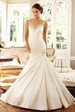 Vestido de novia Corte Sirena Sin mangas Formal Cremallera largo Escote en V