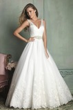 Vestido de novia Cremallera Cristal Escote en V Encaje Sin mangas Bola