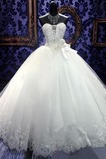 Vestido de novia Invierno Iglesia Escote Corazón largo Cordón tul