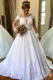 Vestido de novia Playa Verano Abalorio Escote con Hombros caídos Cola Catedral