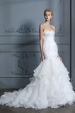 Vestido de novia Corte Sirena Espalda Descubierta Organza Invierno Sin mangas