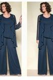 Vestido de madre traje de pantalones Formal Joya Hasta el Tobillo Volante Verano Gasa