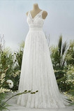 Vestido de novia Capa de encaje Pera Apliques Verano Elegante Espalda con ojo de cerradura