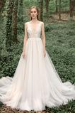 Vestido de novia Escote en V Sin mangas Baja escote en V largo Moderno