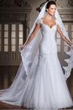Vestido de novia Sala Moderno Encaje Manga corta Escote Corazón Con velo