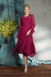 Vestido de madrina Corte-A Escote en V Elegante Asimétrico Dobladillo