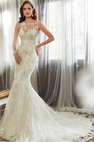 Vestido de novia Corte Sirena Encaje Espalda con ojo de cerradura Sin mangas