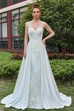 Vestido de novia Pura espalda Satén Formal Capa de encaje Cola Capilla