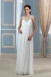 Vestido de novia Sencillo Imperio Cintura Embarazadas Abalorio Escote en V