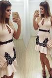Vestido de cóctel Corto Natural Corte-A Apliques Sin mangas Glamouroso