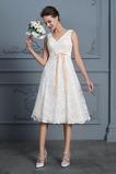 Vestido de novia Playa Natural Falta Escote en V Arco Acentuado Cremallera