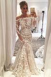 Vestido de novia Apliques Sala tul Escote con Hombros caídos Mangas Illusion