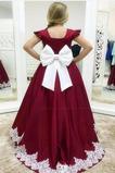 Vestido niña ceremonia Arco Acentuado Lazos Hasta el suelo Satén Natural Cremallera