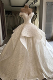 Vestido de novia Espectaculares Manga tapada Cordón Manga corta largo