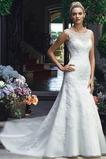 Vestido de novia primavera Encaje Cremallera Natural Abalorio largo