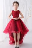 Vestido niña ceremonia Joya Encaje Natural Corte-A Asimétrico Dobladillo primavera