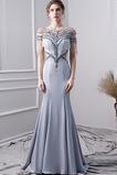 Vestido de noche Elegante Corpiño Acentuado con Perla Natural Satén