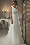 Vestido de novia Cinturón de cuentas Corte-A Gasa Natural Un sólo hombro