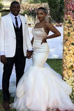 Vestido de novia Corte Sirena Cremallera Sin mangas Sin tirantes tul