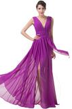 Vestido de noche primavera Natural Blusa plisada Escote en V Hasta el suelo