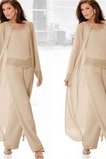 Vestido de madre traje de pantalones Glamouroso Manga de Obispo Natural Alto cubierto Abalorio