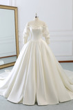 Vestido de novia Natural Formal Barco Recatada largo Corte-A