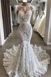 Vestido de novia Playa Drapeado Cremallera Joya Corte Sirena tul