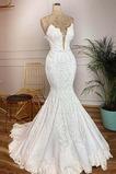 Vestido de novia Sin mangas primavera Capa de encaje Playa Hasta el suelo
